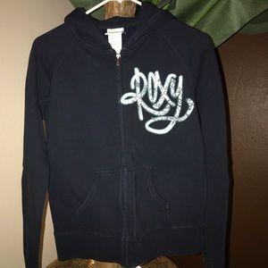 Medium Blue Roxy Zipper Hoodie Sweatshirt